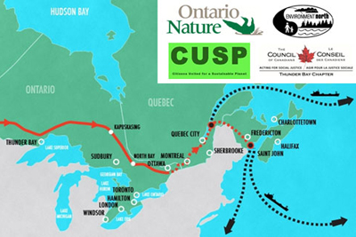 Energy East pipeline map through Ontario